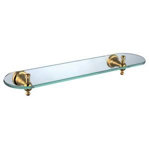 Contemporary Golden Glass Shelf Single-layer Brass Bath Shelf