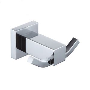 New Modern Chrome-colored Wall Mounted Double Brass Robe Hook