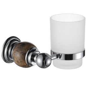 New Modern Wall Mounted Chrome-colored Toothbrush Cup Copper & Marble Toothbrush Holder