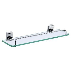 New Modern Chrome-colored Bath Shelf Bathroom Accessories Solid Brass Glass Shelf