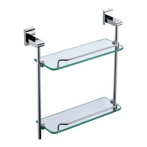 New Modern Chrome-colored Bath Shelf Bathroom Accessories Solid Brass Double Glass Shelf