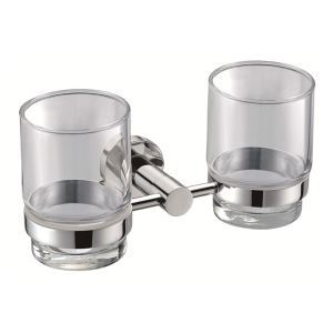 New Modern Chrome-colored Bathroom Accessories Toothbrush Holder Solid Brass Double Tumbler Holder