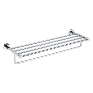 New Modern Chrome-colored Bathroom Accessories Solid Brass Bathroom Shelf With Towel Bar
