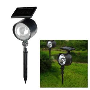 4 LED White Solar Powered LED Rechargeable Plastic Garden Spotlight