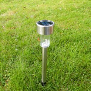 8 pcs White LED Stainless Steel Solar Power Light Outdoor Garden Lawn Decoration Lamp
