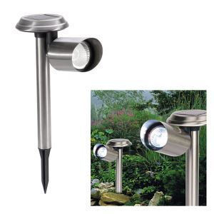 Solar Power Outdoor Garden Yard Stainless Rechargeable LED Light Lawn Lamp