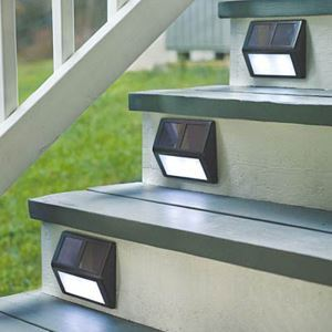 1 pc Solar Powered LED Light Pathway Path Step Stair Wall Mounted Garden Lamp Energy Saving