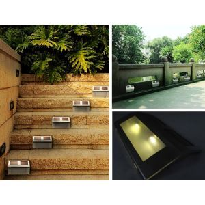 2LED Solar Powered Light Lamp Garden Yard Pathway Walkway Stair Auto Lighting