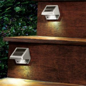 Outdoor Solar 4 LED Powered Wall Stairway Yard Garden Fence Spot Light Lamp