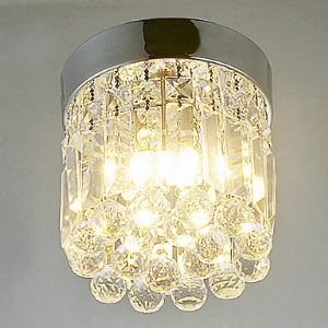 1-Light WW LED Semi Flush Mount in Crystal