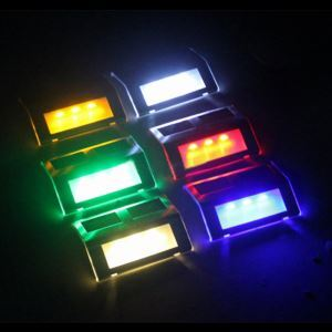 3 LED Color Changing Outdoor Waterproof Solar 3LED Mounted Step Sensor Light Pathway Path Wall