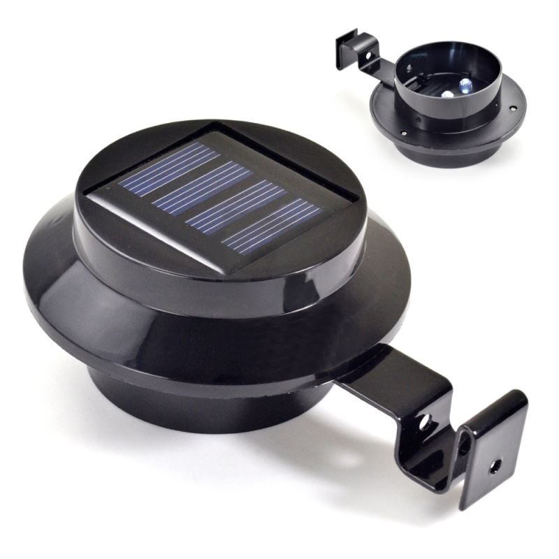 led solar powered gutter door fence wall light outdoor garden lighting