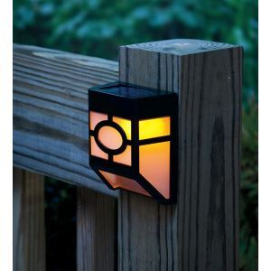 Warm White / White Solar Powered Wall Mount 2 LED Lantern Light Deck Lamp