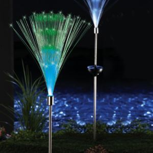 Set of 2 Solar Fiber Optic Light Fountain Garden Stake
