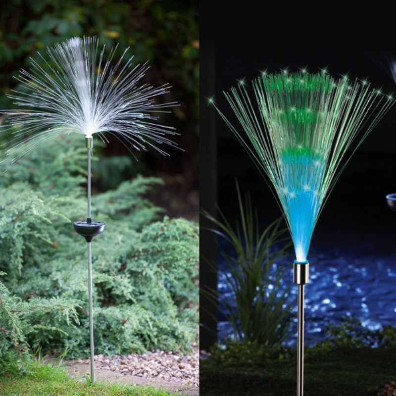 ... Lighting   Outdoor Lighting   LED Solar Lights   Set Of 2 Solar Fiber  Optic Light ...