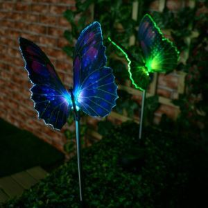 Set of 2 Solar Fibre Optic Butterfly Stake Lights
