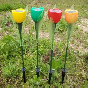 4 pcs Outdoor Yard Garden Path Way Solar Power LED Tulip Landscape Flower Lamp Lights
