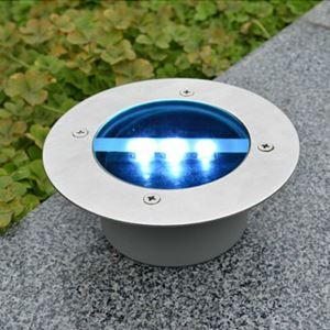 Solar Power LED Light Round Recessed Deck Dock Pathway Garden LED Light