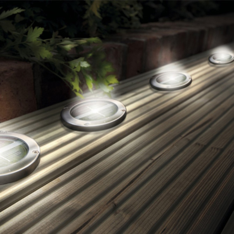 Solar Deck Lights Led Ground Lights Stainless Steel A Set