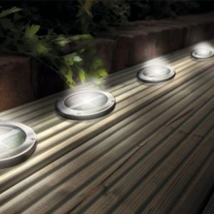 Stainless Steel Solar LED Light Deck Ground Lights(a set of four lights) Patio Light