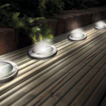 Stainless Steel Solar LED Light Deck Ground Lights(a Set Of Four Lights) Patio  Light