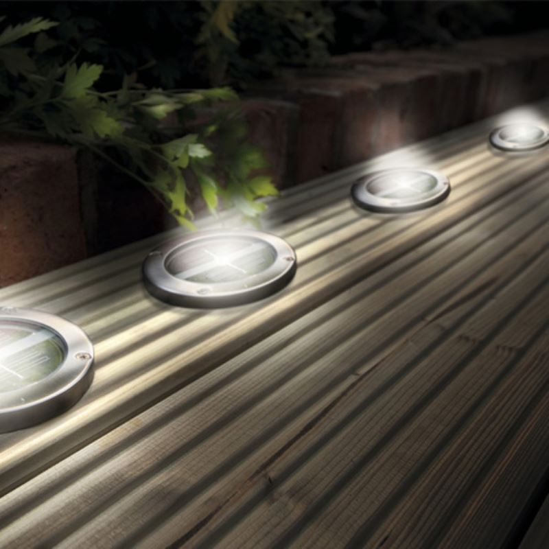 stainless steel solar led light deck ground lights a set of four lights patio light. Black Bedroom Furniture Sets. Home Design Ideas