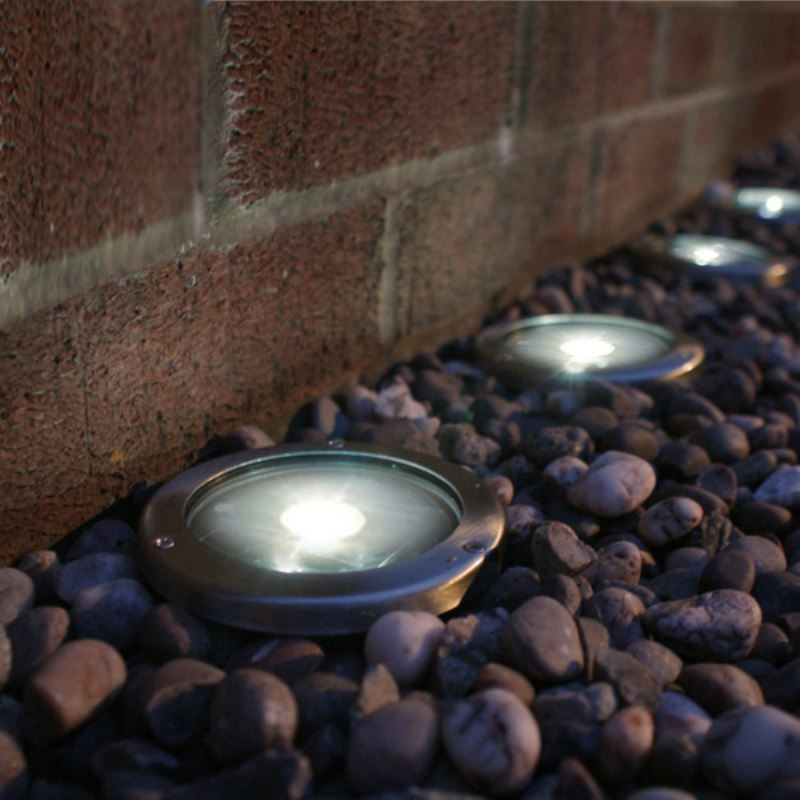 Stainless steel solar led light deck ground lights a set for In ground landscape lighting