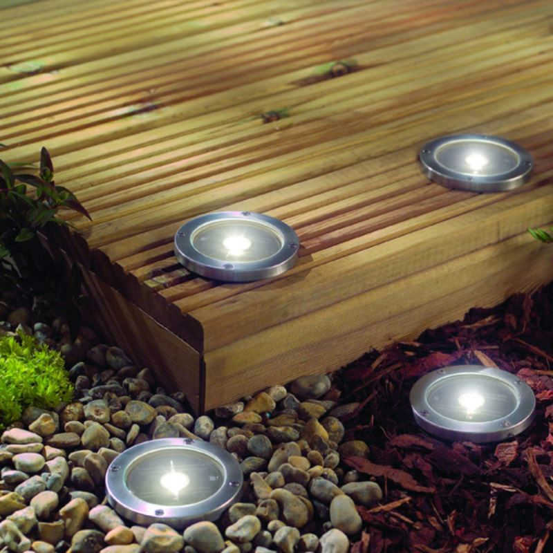 solar led light deck ground lights a set of four lights patio light. Black Bedroom Furniture Sets. Home Design Ideas