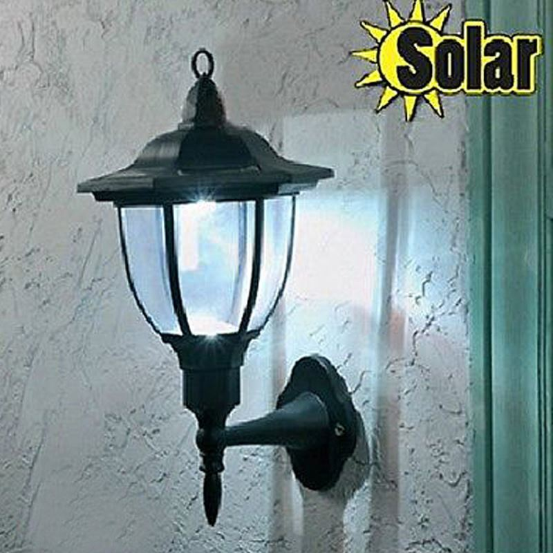 Lighting - Outdoor Lighting - LED Solar Lights - Outdoor Solar 4LED Bright Wall Mount Garden ...