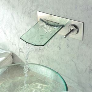 Single Handle Chrome Waterfall Wall-mount Glass Bathtub Faucet