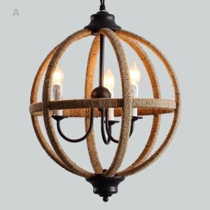 Country Style Pendant Light Bedroom Metal Rope ceiling lights