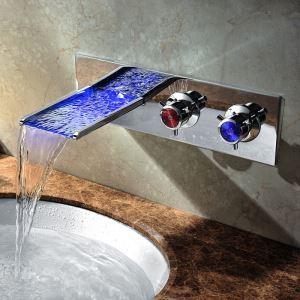 Color Changing LED Waterfall Widespread Bathroom Sink Faucet (Wall Mount)