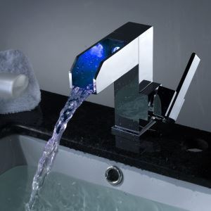 Contemporary Color Changing Led Waterfall Bathroom Sink Faucet Taps Chrome Finish