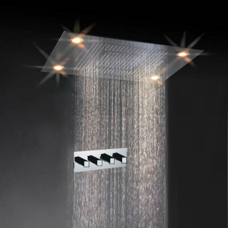 Luxury Rain Showers luxury square rain nickel finish led shower faucet