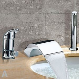 Chrome Finish Waterfall Contemporary Widespread Tub Faucet With Handshower