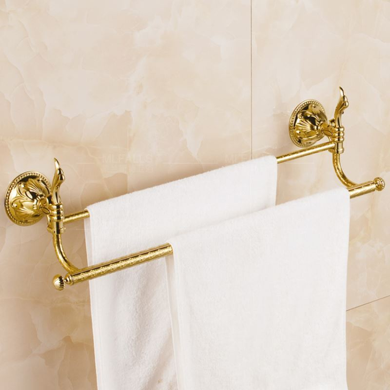 Bathroom Towel Bars Contemporary Golden Double Towel Rail Solid Brass Wall Mounted Towel Bar
