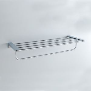 Modern Contemporary Towel Rack Chrome Finish Silver Double-layer Towel Rail Brass Wall Mounted Towel Bar