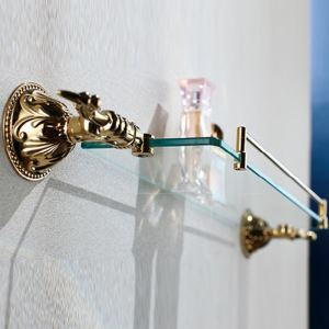 Contemporary Ti-PVD Finish Golden Bath Shelf Brass Wall Mounted Glass shelf with rail