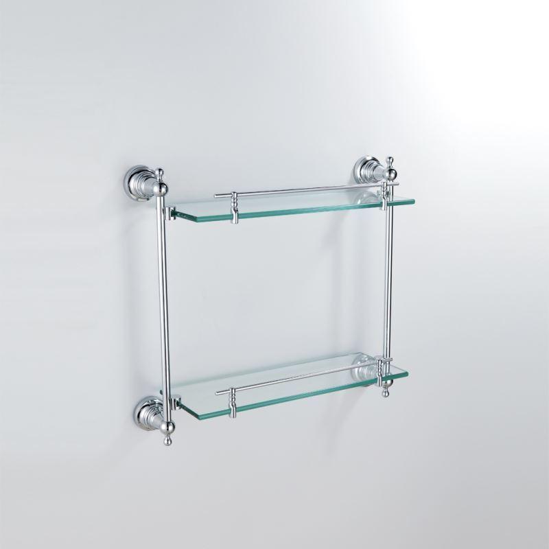 Bathroom Bath Shelves Modern Contemporary Chrome Finish Silver Double Layer Bath Shelf Brass