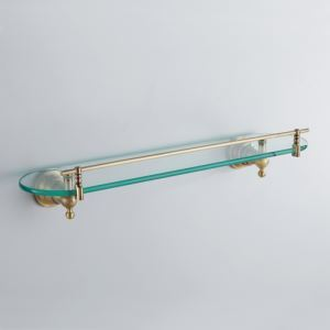 Antique Bronze Single-layer Bath Shelf Brass Wall Mounted Glass shelf with rail