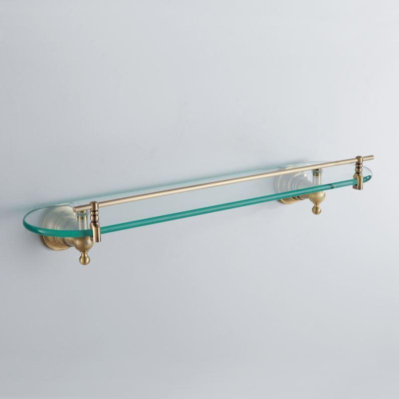 Glass bathroom shelf with rail