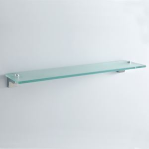 Modern Contemporary Chrome Finish Silver Single-layer Bath Shelf Brass Wall Mounted Glass shelf