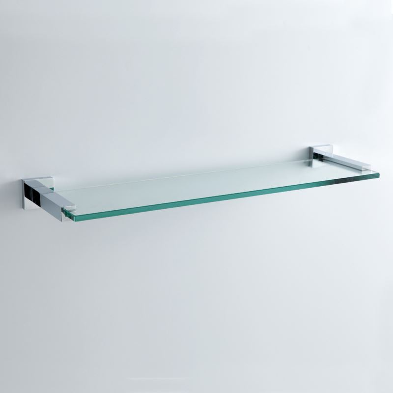 Bathroom bath shelves modern contemporary chrome for Etagere en verre salle de bain