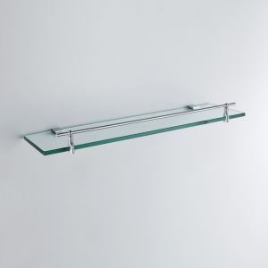 Modern Contemporary Chrome Finish Silver Single-layer Bath Shelf Brass Wall Mounted Glass shelf with rail