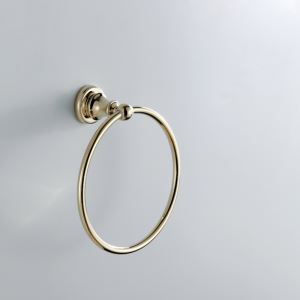 (In Stock)Contemporary Golden Ti-PVD Finish Wall Mounted Brass Towel Ring