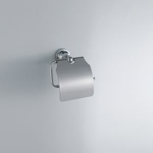 Modern Contemporary Silver Chrome Finish Toilet Paper Rack with Cover Wall Mounted Tissue Holder Brass Toilet Paper Holder