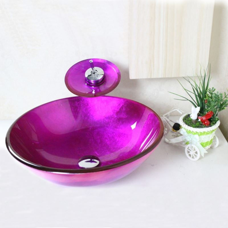 Faucets   Sink And Faucet Sets   Victory Round Purple Tempered Glass Vessel  Sink With Waterfall ...