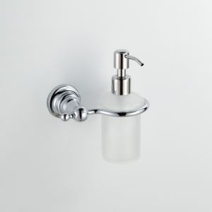 Modern/Contemporary Round Chrome Finish Liquid Soap Dispenser Rack Silver Wall Mounted Brass Soap Holder