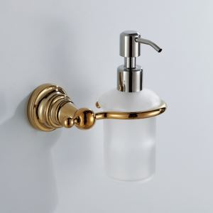 Contemporary Ti-PVD Finish Liquid Soap Dispenser Rack Golden Wall Mounted Brass Soap Holder