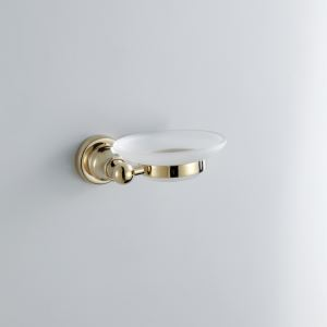 Contemporary Round Soap Dish Ti-PVD Finish Soap Rack Golden Wall Mounted Brass Soap Holder